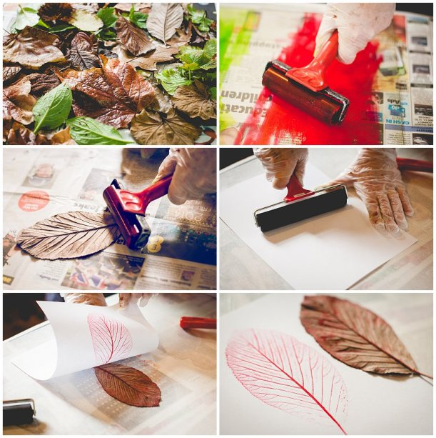 Mono Printing with leaves