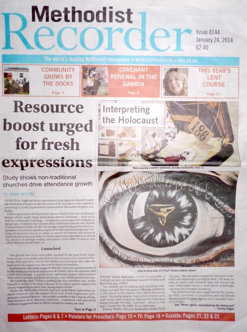 Methodist Recorder front page, 24 Jan 2014
