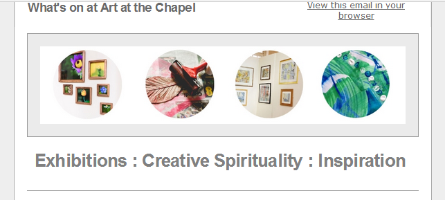 art at the chapel newsletter screen grab